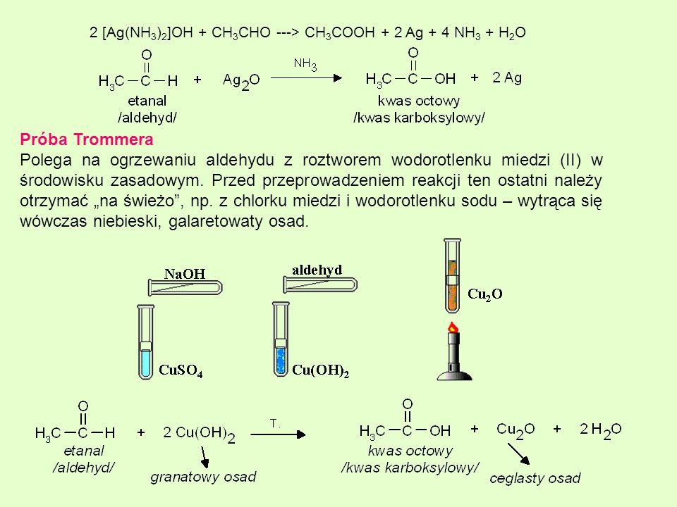 2 [Ag(NH3)2]OH + CH3CHO ---> CH3COOH + 2 Ag + 4 NH3 + H2O